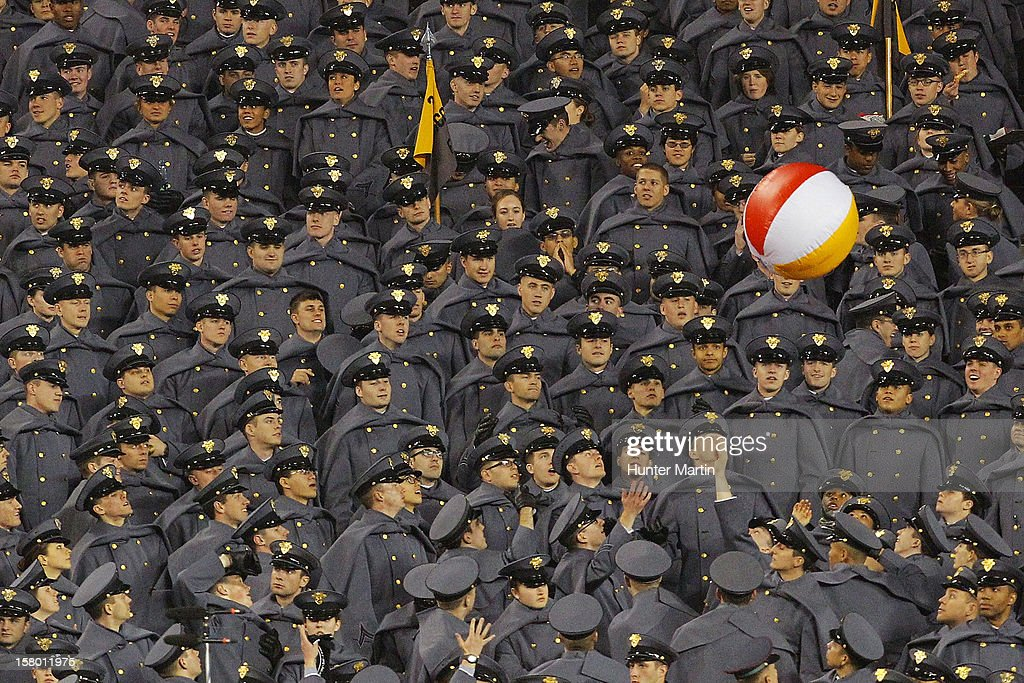 West Point Cadets play with a beach ball during a game between the Army Black Knights and the Navy Midshipmen on December 8, 2012 at Lincoln Financial Field in Philadelphia, Pennsylvania. The Navy won 17-13.