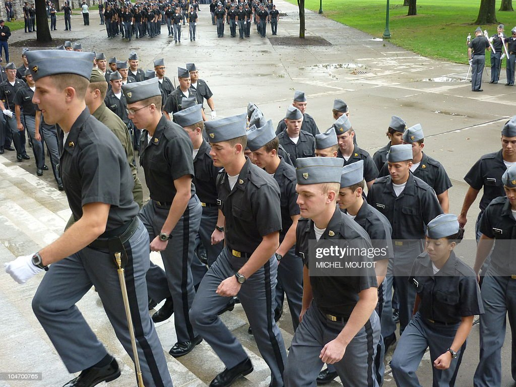 West Point cadets walk in formation on October 1 2010 on the campus of the famous military school 60 miles north of New York Senior cadets who are...