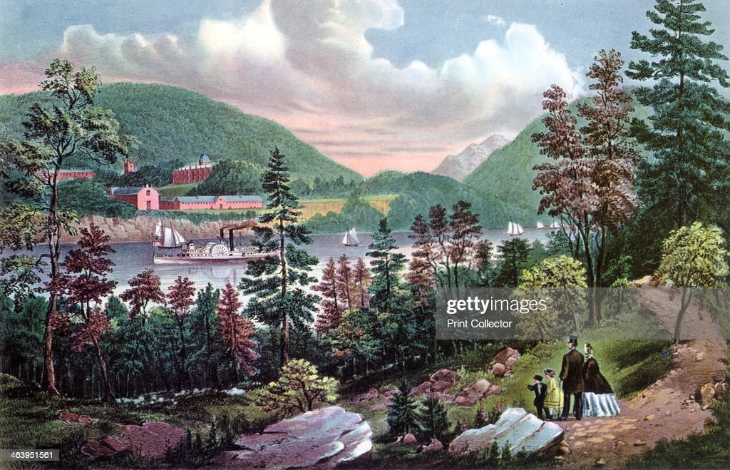 West Point US Military Academy from the opposite Shore 1862 Overlooking the Hudson River in New York West Point was founded in 1802