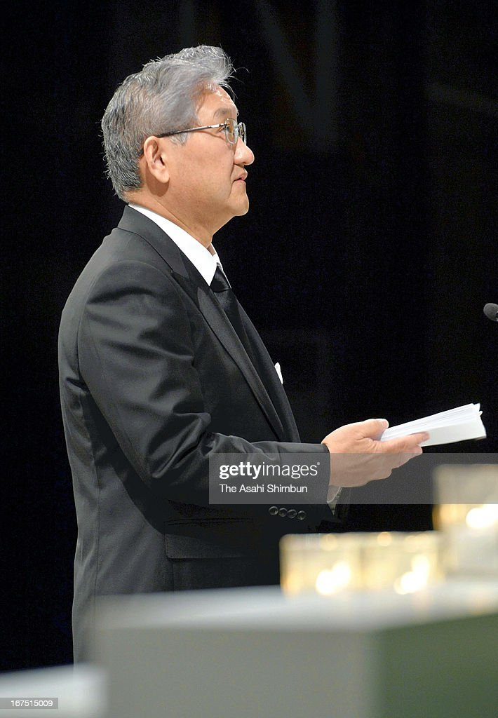 JR West President Seiji Manabe addresses during the memorial service on April 25, 2013 in Amagasaki, Hyogo, Japan. 107 passengers and driver were killed by train derailment in 2005.
