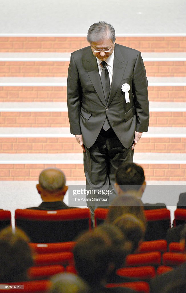JR West President Seiji Manabe bows toward the family members and relatives of the victims during the memorial service on April 25, 2013 in Amagasaki, Hyogo, Japan. 107 passengers and driver were killed by train derailment in 2005.