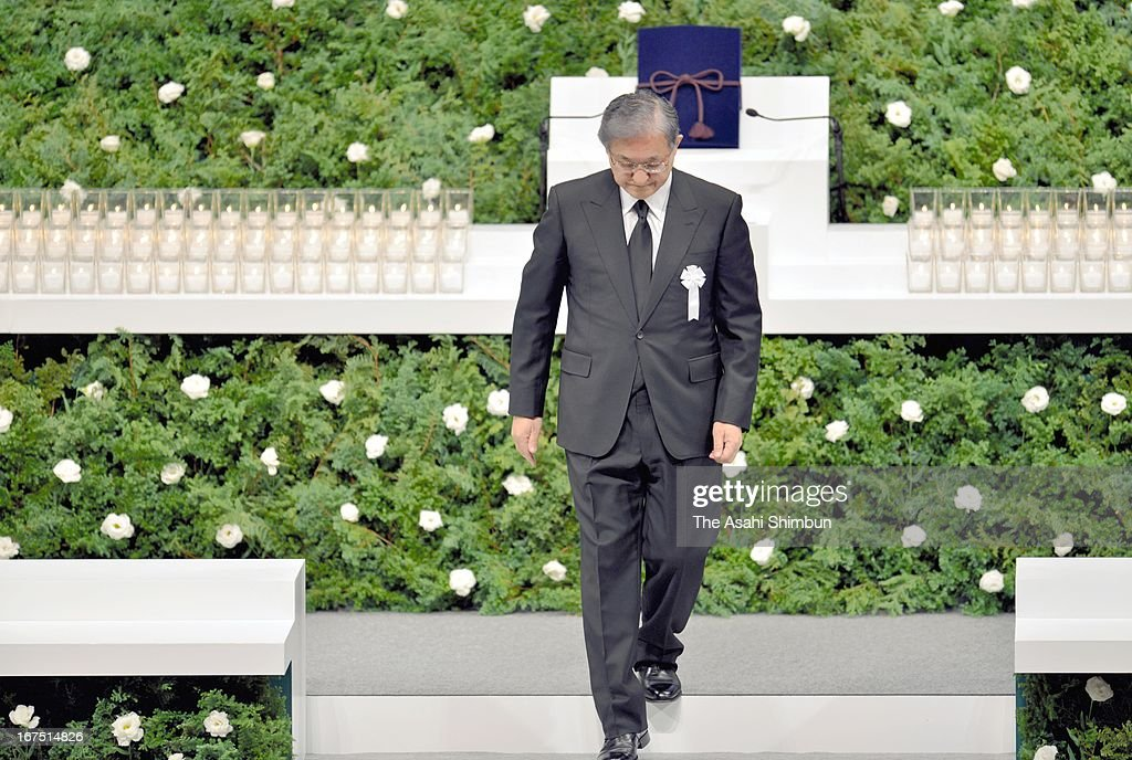 JR West President Seiji Manabe leaves the stage during the memorial service on April 25, 2013 in Amagasaki, Hyogo, Japan. 107 passengers and driver were killed by train derailment in 2005.