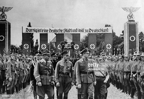 West Prussia province Gdansk Demonstration organized by the SA in Gdansk Gauleiter Albert Forster inspects a guard of honour of SA members 1939...