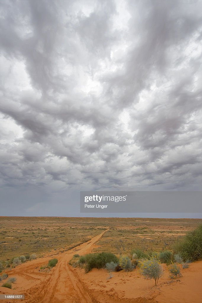 West side of Little Red sand dune facing into the west of the Simpson Desert with pending storm clouds looming. : Stock Photo