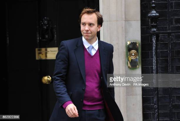 West Suffolk MP Matthew Hancock leaves 10 Downing Street London as Prime Minister David Cameron kicked off a coalition reshuffle with Scottish...
