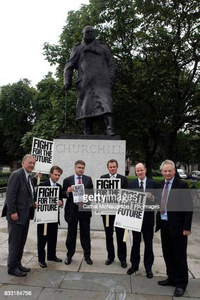 West Sussex MPs stand by the statue of Sir Winston Churchill Parliament Sqaure London as they back a massive epetition being launched by West Sussex...