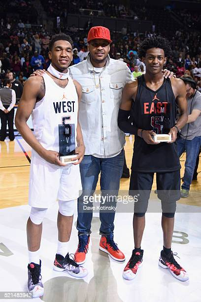 West Team MVP Malik Monk Jordan Brand athlete Carmelo Anthony and East Team MVP De'Aaron Fox at the 2016 Jordan Brand Classic at Barclays Center on...