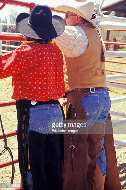 West Texas Big Bend Cattle Drive Cowboy And Cowgirl In Chaps