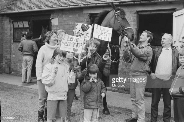 West Tip seen here on his return to his stables after winning the 1986 Grands National surrounded by local schoolchildren 6th April 1986