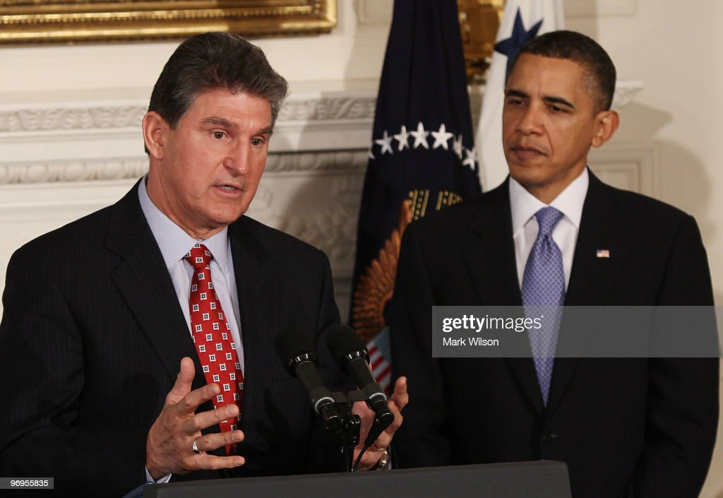 West Virginia Governor <a gi-track='captionPersonalityLinkClicked' href=/galleries/search?phrase=Joe+Manchin&family=editorial&specificpeople=568465 ng-click='$event.stopPropagation()'>Joe Manchin</a> (L) speaks as U.S. President <a gi-track='captionPersonalityLinkClicked' href=/galleries/search?phrase=Barack+Obama&family=editorial&specificpeople=203260 ng-click='$event.stopPropagation()'>Barack Obama</a> listens during meeting with state governors at the White House on February 22, 2010 in Washington, DC. President Obama urged states to better prepare high school students for college and careers. The governors are in town for the annual National Governors Association meeting.