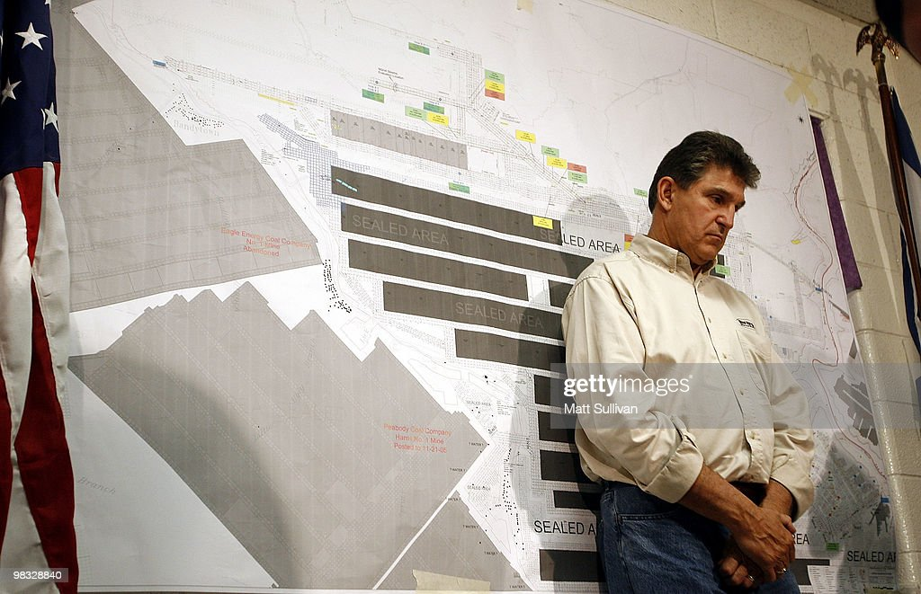 West Virginia Governor <a gi-track='captionPersonalityLinkClicked' href=/galleries/search?phrase=Joe+Manchin&family=editorial&specificpeople=568465 ng-click='$event.stopPropagation()'>Joe Manchin</a> stands in front of a map of the Upper Big Branch Mine during a press conference on April 8, 2010 in Montcoal, West Virginia. The search for three unaccounted miners has been suspended due to dangerous gasses trapped underground. Twenty-five miners were killed in an explosion at Massey Energy Company's Upper Big Branch Coal Mine April 5.