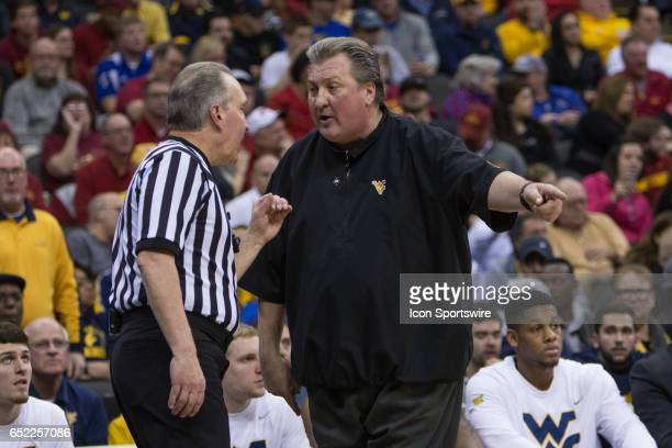West Virginia Mountaineers head coach Bob Huggins complains to an official during the Big 12 tournament championship game between the West Virginia...