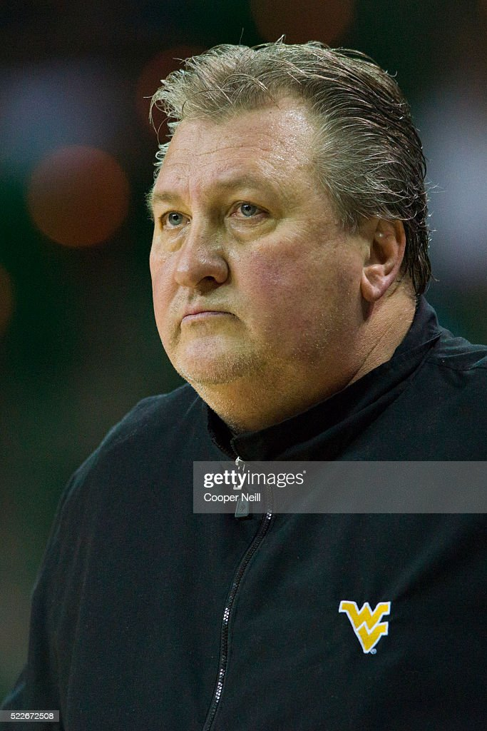 West Virginia Mountaineers head coach Bob Huggins looks on against the Baylor Bears on March 5 2016 at the Ferrell Center in Waco Texas