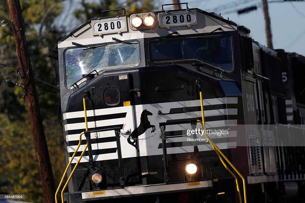 A westbound Norfolk Southern Corp coil steel freight train passes through Shelbyville Kentucky US on Tuesday Oct 20 2015 Norfolk Southern is...