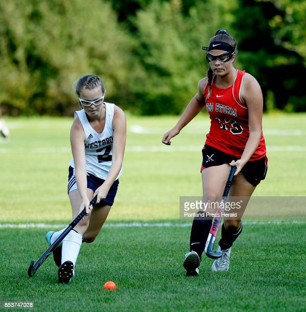 Westbrook's Abigail Symbol battles for the ball with Scarborough's Lauren Topchick Friday September 15 2017
