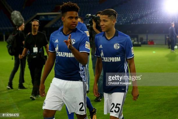Westcon McKennie and Amine Harit f FC Schalke 04 talk during the team poresentation at Veltins Arena on July 12 2017 in Gelsenkirchen Germany