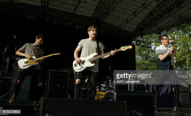 Westen Weiss Aaron Kelly and Nick Anderson of The Wrecks perform in concert New York New York at Central Park SummerStage on July 31 2017 in New York...