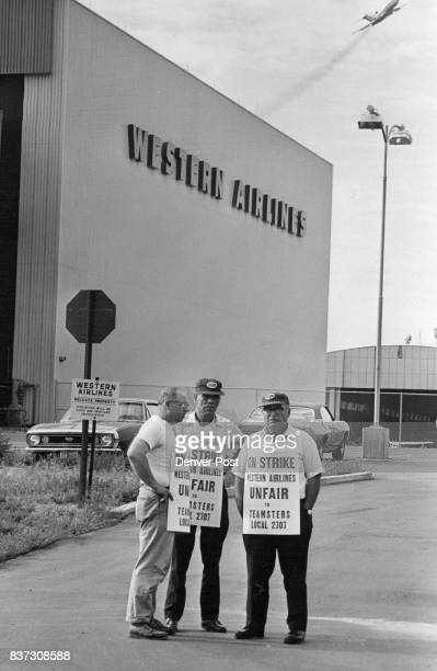 Western Airlines Hangar Picketed Picketing outside the hangar at Stapleton International Airport of strikehalted Western Airlines are members of...