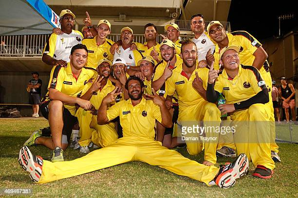 Western Australia celebrate winning during the Imparja Cup against New South Wales at Traeger Park on February 15 2014 in Alice Springs Australia