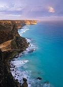 Western Australia, Great Australian Bight, Baxter Cliffs at sunset