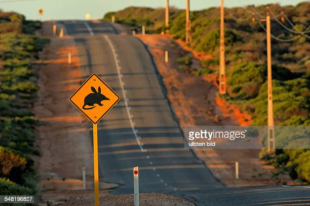 Western Australia Warning sign to protect the rare Bilbys on road in World Nature Heritage Shark Bay