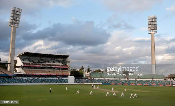 Western Australia's Steve MaGoffin bowls to England's James Anderson during the tour match at the WACA Perth