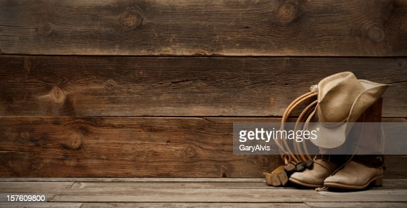Western barnwood background w/boots,hat,lasso-extra wide