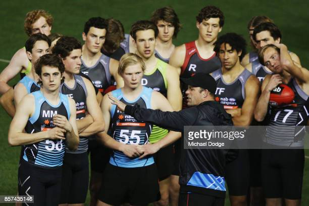 Western Bulldogs former player Brad Johnson gives footballer instructions during the AFLW Draft Combine at Etihad Stadium on October 4 2017 in...