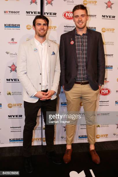 Western Bulldogs players Easton Wood and Jordan Roughead arrive ahead of the AFL Players' MVP Awards at Shed 14 Central Pier on September 12 2017 in...