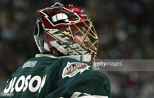 Western Conference AllStar and goaltender Dwayne Roloson of the Minnesota Wild watches the action during the 54th NHL AllStar Game on February 8 2004...