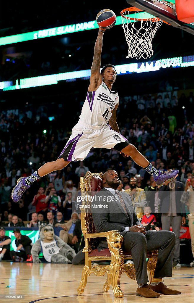 Western Conference All-Star <a gi-track='captionPersonalityLinkClicked' href=/galleries/search?phrase=Ben+McLemore&family=editorial&specificpeople=9966388 ng-click='$event.stopPropagation()'>Ben McLemore</a> #16 of the Sacramento Kings dunks the ball over <a gi-track='captionPersonalityLinkClicked' href=/galleries/search?phrase=Shaquille+O%27Neal&family=editorial&specificpeople=201463 ng-click='$event.stopPropagation()'>Shaquille O'Neal</a> during the Sprite Slam Dunk Contest 2014 as part of the 2014 NBA All-Star Weekend at the Smoothie King Center on February 15, 2014 in New Orleans, Louisiana.