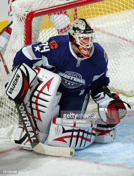 Western Conference AllStar goaltender Miikka Kiprusoff of the Calgary Flames defends his net during the 2007 NHL AllStar Game at American Airlines...