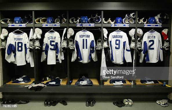 Western Conference AllStar jerseys in the locker room prior to the start of the 56th NHL AllStar Game at Philips Arena on January 27 2008 in Atlanta...