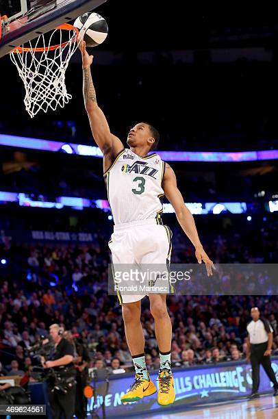 Western Conference AllStar Trey Burke of the Utah Jazz competes in the Taco Bell Skills Challenge 2014 as part of the 2014 NBA AllStar Weekend at the...