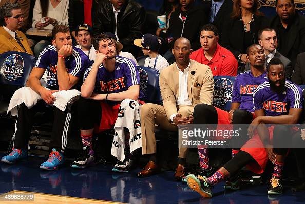 Western Conference Blake Griffin of the Los Angeles Clippers Kevin Love of the Minnesota Timberwolves Kobe Bryant of the Los Angeles Lakers Kevin...