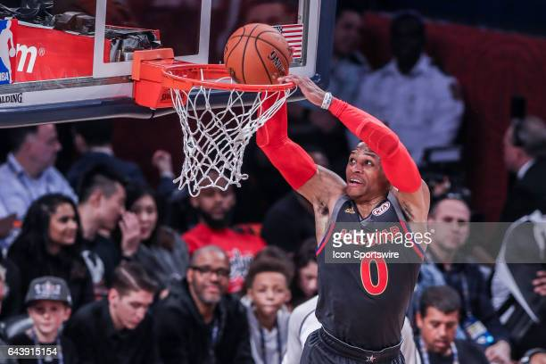 Western Conference guard Russell Westbrook dunks the ball against the Eastern Conference during the NBA AllStar Game between the Eastern Conference...