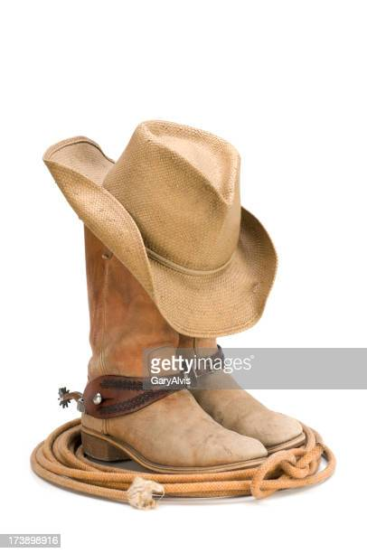 Western cowboy boots,spurs,hat,lasso-isolated on white