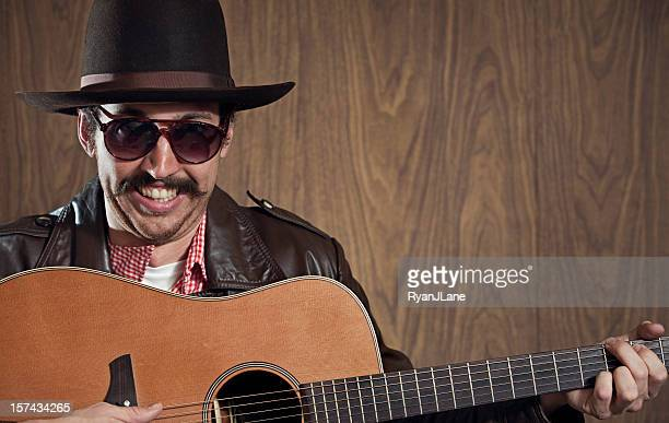 Western Cowboy with Mustache and Guitar