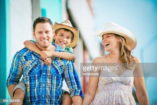 Western family having fun