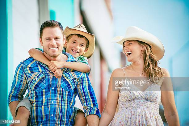 Western family having fun