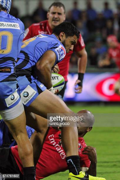 Western Force's Curtis Rona takes the ball during the Super Rugby match between Australia's Western Force and South Africa's Lions in Perth on April...