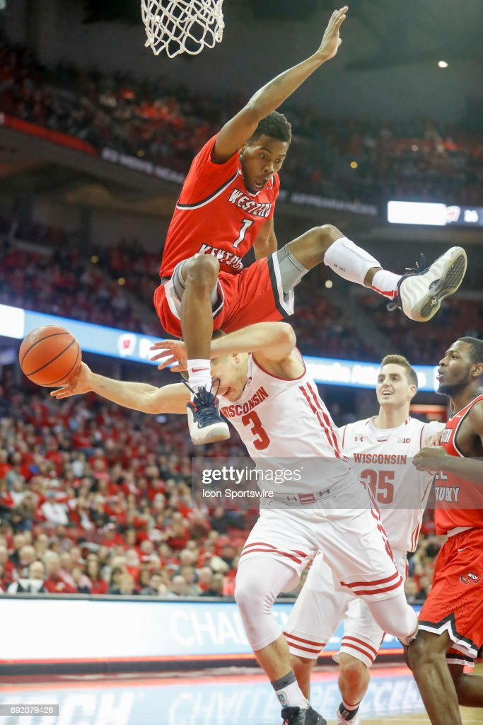 Western Kentucky guard Lamonte Bearden (1) fouls Wisconsin guard Walt McGrory (3) during a college basketball game between the University of Wisconsin Badgers and the Western Kentucky University Hilltoppers on December 13, 2017 at the Kohl Center in Madison, WI.