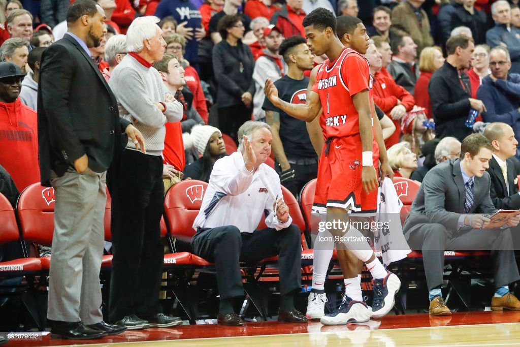 Western Kentucky guard Lamonte Bearden (1) walks back to the bench after fouling out during a college basketball game between the University of Wisconsin Badgers and the Western Kentucky University Hilltoppers on December 13, 2017 at the Kohl Center in Madison, WI.