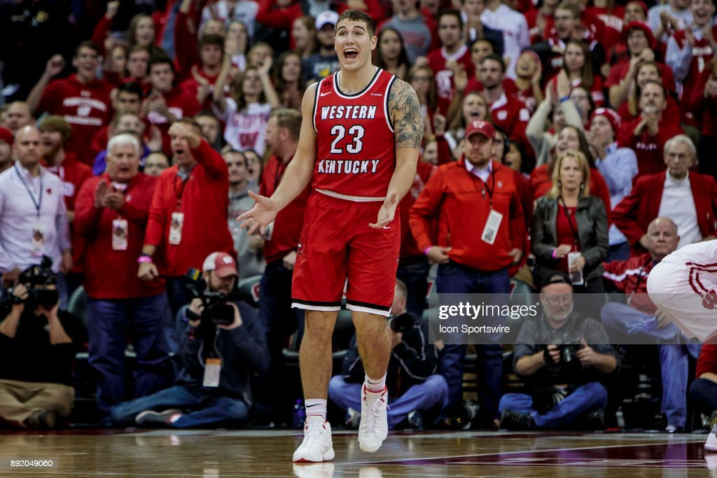 Western Kentucky Hilltoppers forward Justin Johnson (23) reacts to a foul call during an college basketball game between Western Kentucky Hilltoppers and the Wisconsin Badgers on December 13th, 2017 at the Kohl Center in Madison, WI. Wisconsin defeats Western Kentucky 81-80.