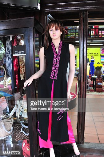 A western lady dummy wearing Vietnam traditional clothing