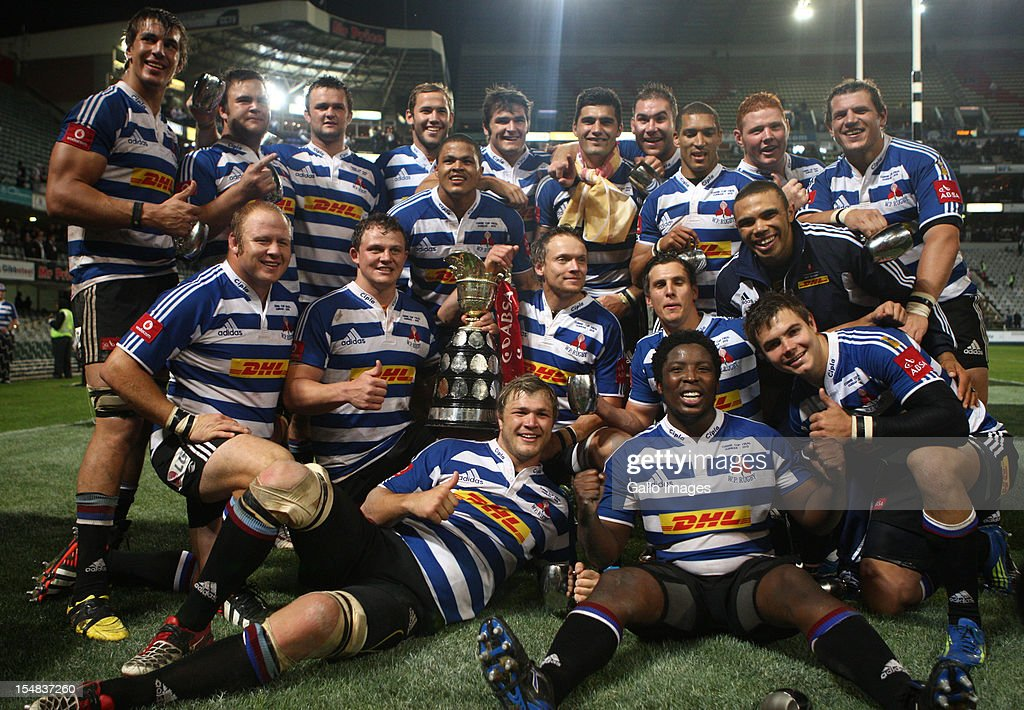 Western Province celebrate with the trophy after winning the Absa Currie Cup final match between The Sharks and DHL Western Province from Mr Price KINGS PARK on October 27, 2012 in Durban, South Africa.