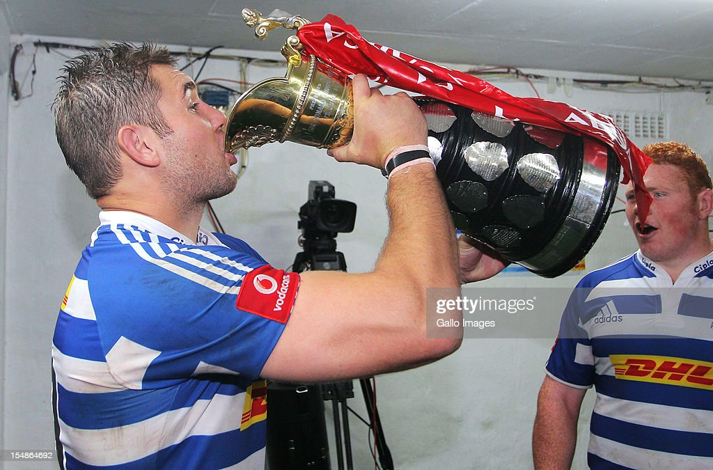 Western Province flanker Jebb Sinclair celebrates after winning the Absa Currie Cup final match between The Sharks and DHL Western Province from Mr Price KINGS PARK on October 27, 2012 in Durban, South Africa.
