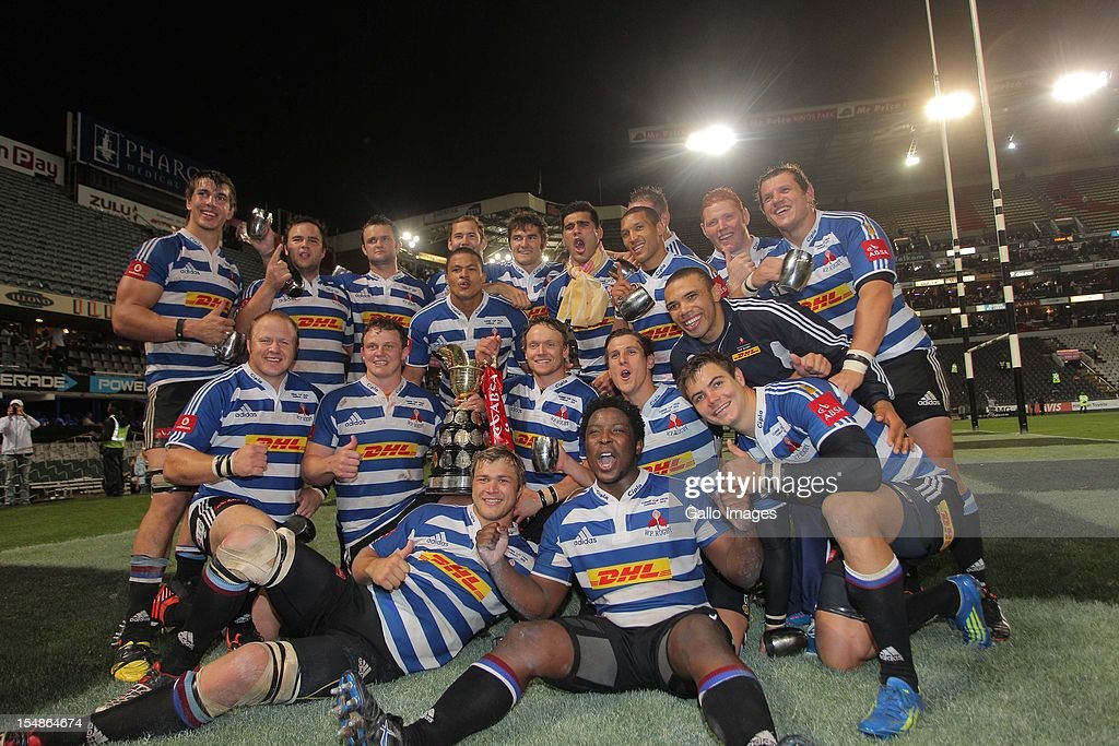 Western Province players celebrate after winning the Absa Currie Cup final match between The Sharks and DHL Western Province from Mr Price KINGS PARK on October 27, 2012 in Durban, South Africa.