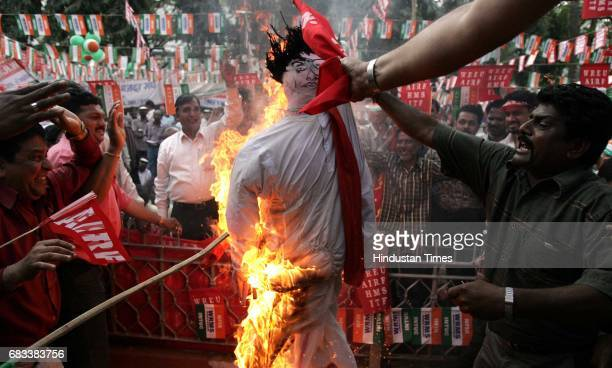 Western Railway employees protest outside Churchgate station where tehy burnt an effigy of PChidambaram and announced about their strike to happen on...