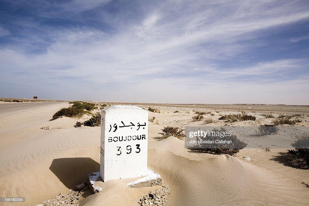 Western Sahara, kilometer marker, Sahara Desert.